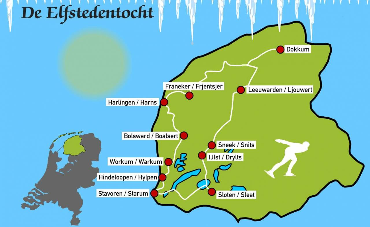 Map elfstedentocht the Netherlands provi