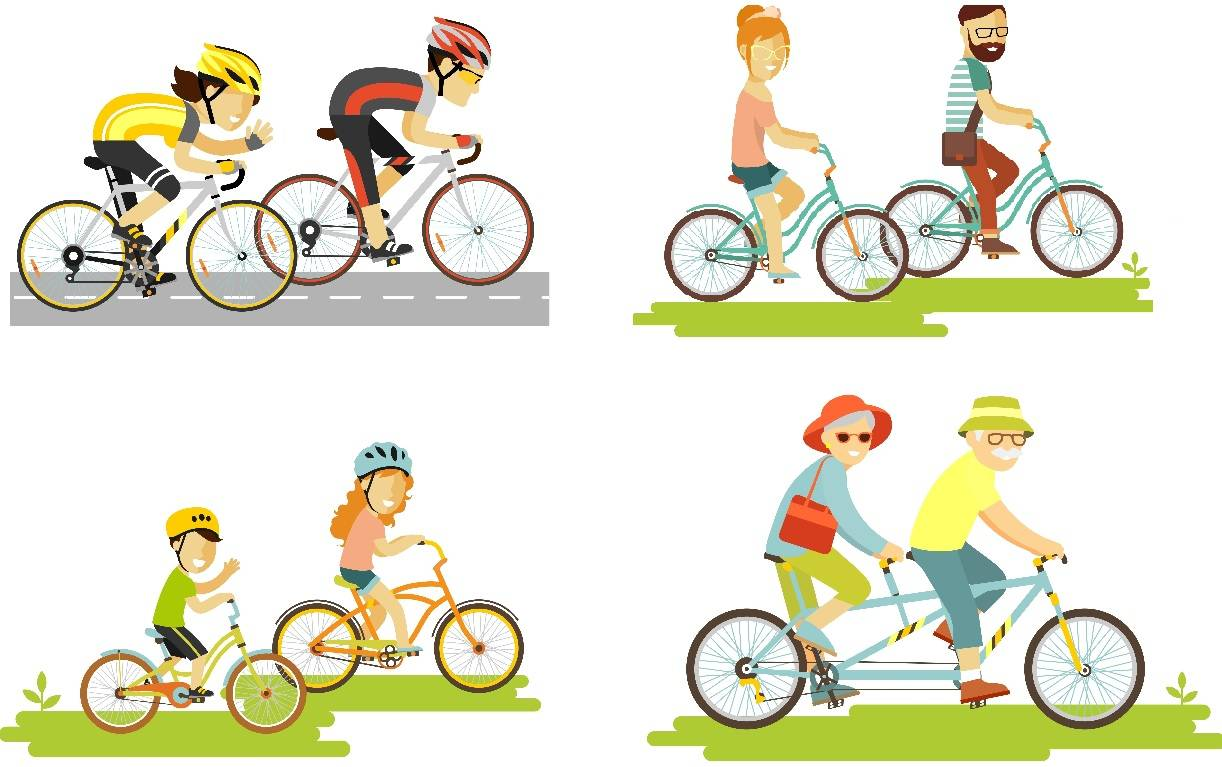 Set of cyclist different styles